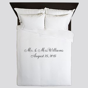 Personalized Wedding Name Date Queen Duvet