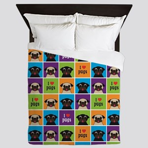 I Love Pugs Sm Color Squares Queen Duvet