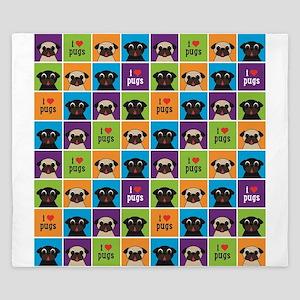I Love Pugs Sm Color Squares King Duvet