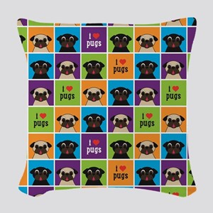 I Love Pugs Sm Color Squares Woven Throw Pillow
