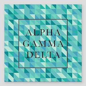 """Alpha Gamma Delta Geomet Square Car Magnet 3"""" x 3"""""""