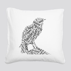Raven as a Word Cloud Square Canvas Pillow