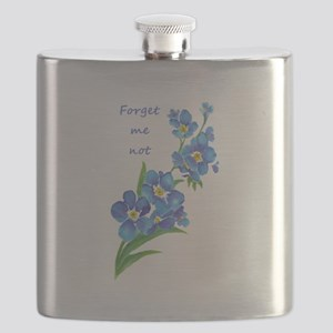 Forget-Me-Not Watercolor Flower & Quote Flask
