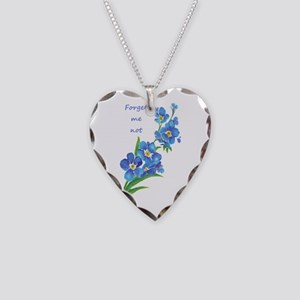 Forget-Me-Not Watercolor Necklace Heart Charm