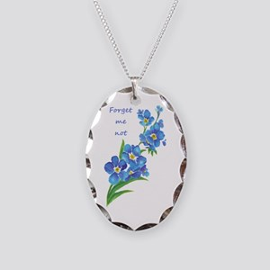 Forget-Me-Not Watercolor Flower & Quote Necklace O