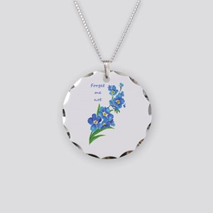 Forget-Me-Not Watercolor Flower & Quote Necklace C