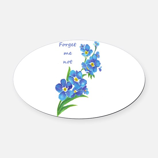 Forget-Me-Not Watercolor Flower & Quote Oval Car M