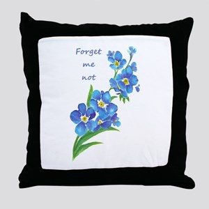 Forget-Me-Not Watercolor Flower & Quote Throw Pill