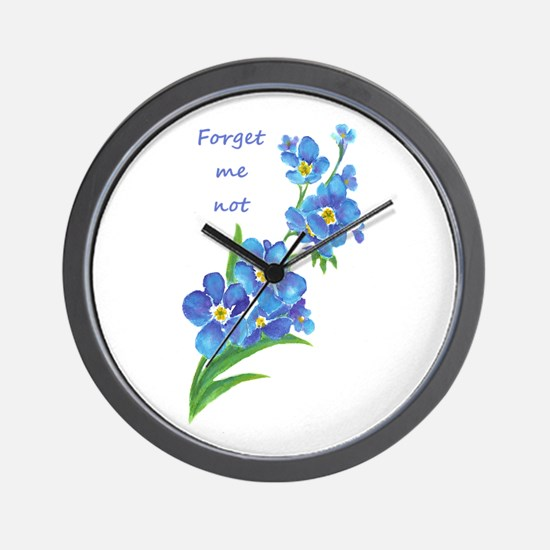 Forget-Me-Not Watercolor Flower & Quote Wall Clock