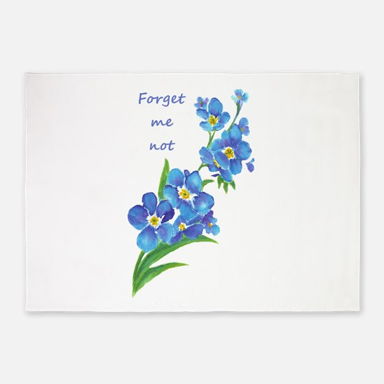 Forget-Me-Not Watercolor Flower & Quote 5'x7'Area