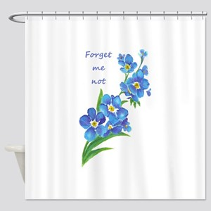 Forget-Me-Not Watercolor Flower & Quote Shower Cur