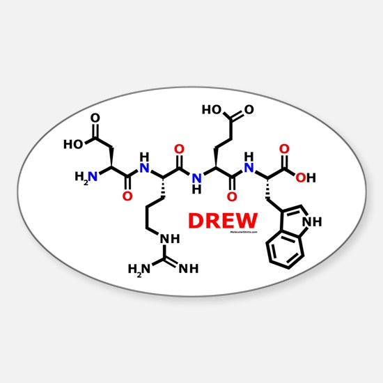 Drew name molecule Oval Decal