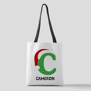 Christmas Letter C Monogram Polyester Tote Bag