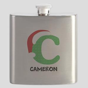 Christmas Letter C Monogram Flask