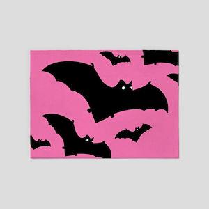 Pink Halloween Bats Pattern 5'x7'Area Rug