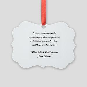 Jane Austen Quote Truth Picture Ornament