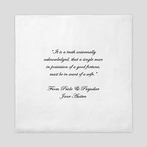 Jane Austen Truth Quote Queen Duvet