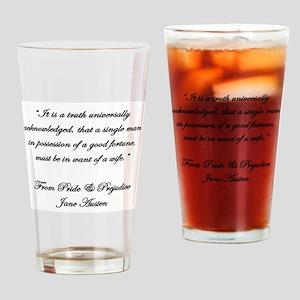 Jane Austen Truth Quote Drinking Glass