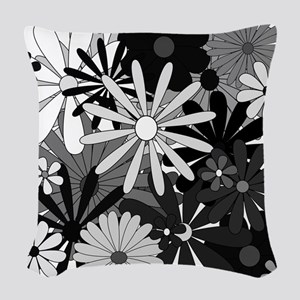 Black and White Flowers Woven Throw Pillow