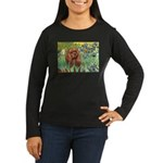 Irises & Ruby Cavalier Women's Long Sleeve Dark T-