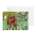 Irises & Ruby Cavalier Greeting Cards (Pk of 10)