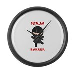 Ninja Barber Large Wall Clock