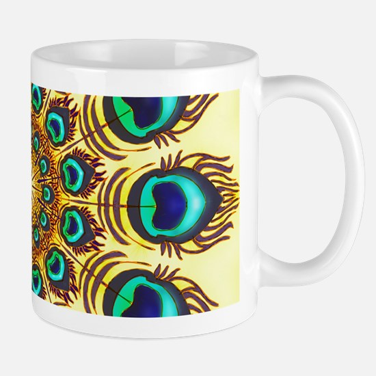peacock feathers Mugs