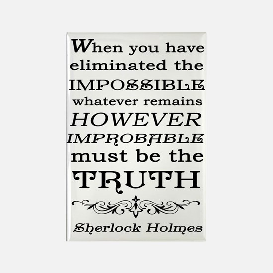 Sherlock Holmes Impossible Quote Rectangle Magnet