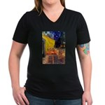 Cafe & Ruby Cavalier Women's V-Neck Dark T-Shirt