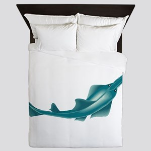 sawfish, saw fish, green, fish, animal Queen Duvet