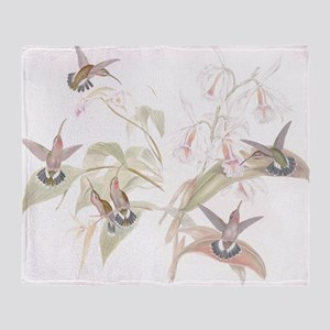 Hummingbirds & Orchids Throw Blanket
