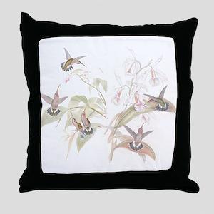 Hummingbirds & Orchids Throw Pillow