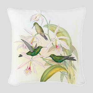 Hummingbirds Woven Throw Pillow