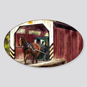 Buggy on Covered Bridge Sticker (Oval)