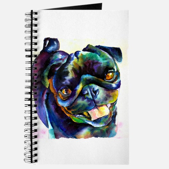Black Pug Happy Journal