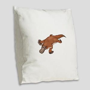 Brown Platypus Burlap Throw Pillow