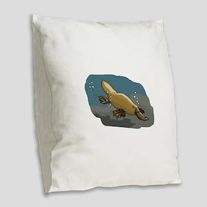 Platypus Underwater Burlap Throw Pillow