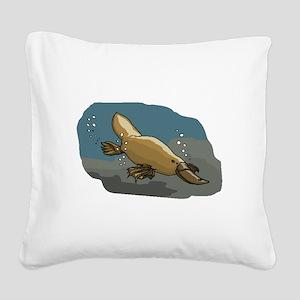 Platypus Underwater Square Canvas Pillow