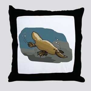 Platypus Underwater Throw Pillow