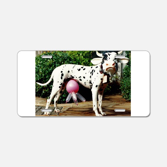 The Dairy Cow Dog Aluminum License Plate