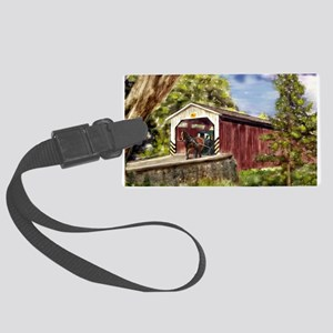 Amish Buggy on Covered Bridge Luggage Tag