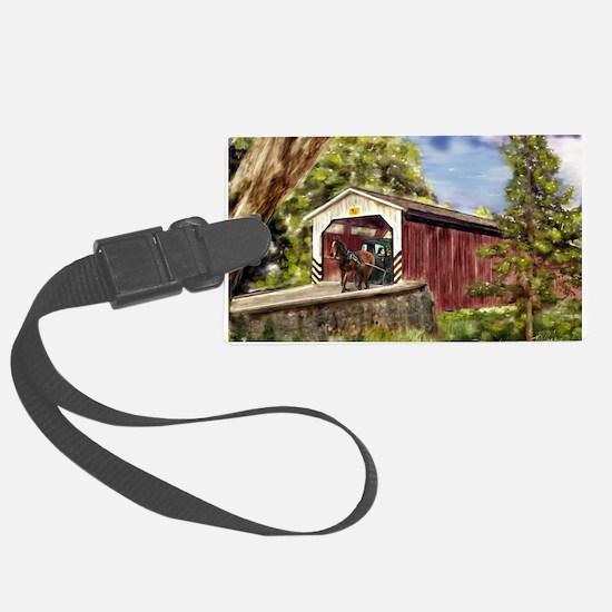 Amish Buggy on Covered Bridge Luggage Tag