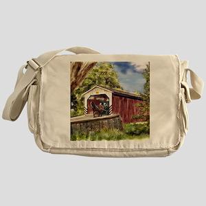 Amish Buggy on Covered Bridge Messenger Bag
