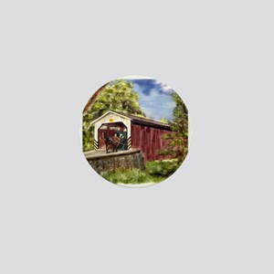 Amish Buggy on Covered Bridge Mini Button