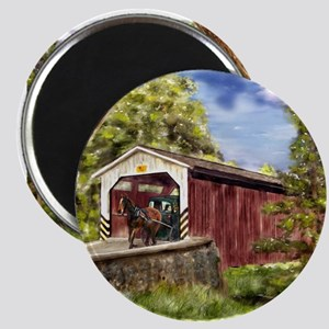 Amish Buggy on Covered Bridge Magnets