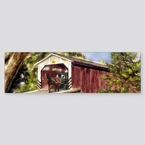 Amish Buggy on Covered Bridge Bumper Sticker