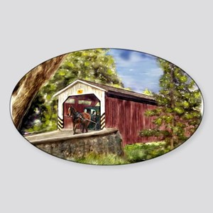 Amish Buggy on Covered Bridge Sticker
