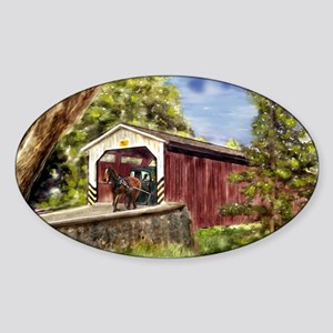 Amish Buggy on Covered Bridge Sticker