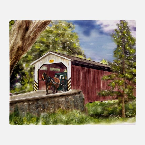 Amish Buggy on Covered Bridge Throw Blanket