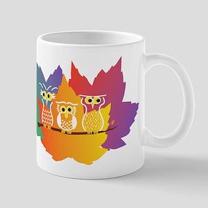 Three Little Autumn Owls Mug
